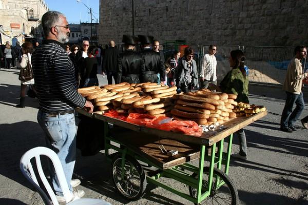 Jerusalem-coexist Arab bread seller Old Jerusalem