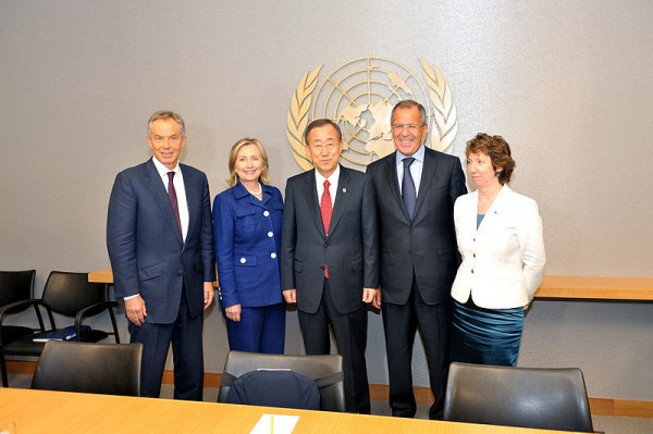 Mid_East_Quartet Catherine Ashton Tony Blair Hillary Rodham Clinton Ban Ki-Moon Sergey Lavrov