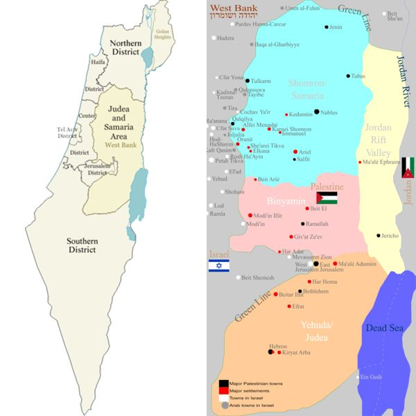 Israel districts-Map-Judea-Samaria-Settlements
