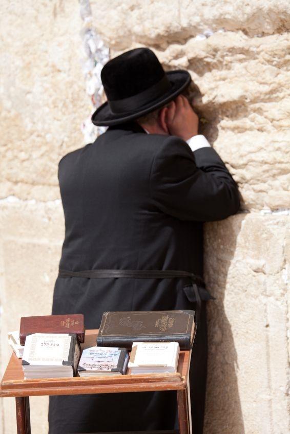 Jewish Man-Western (Wailing) Wall-Jerusalem-prayer books-Hebrew Bible