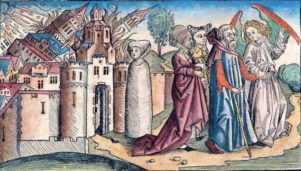 Painting-Lot Leaving Sodom-Nuremberg-woodcut-1493