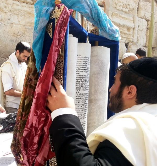 Lifting the Torah scroll-Western (Wailing) Wall