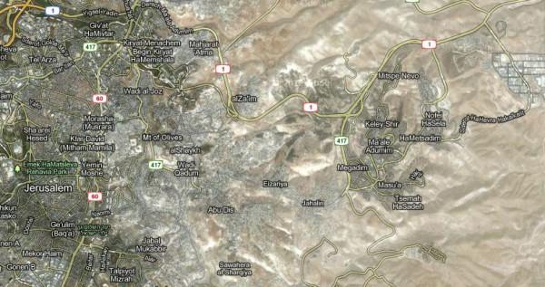 Google-map-Jerusalem-Maale Adumim