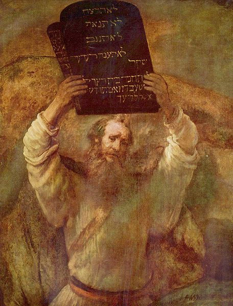 Moses With the Ten Commandments-Rembrandt