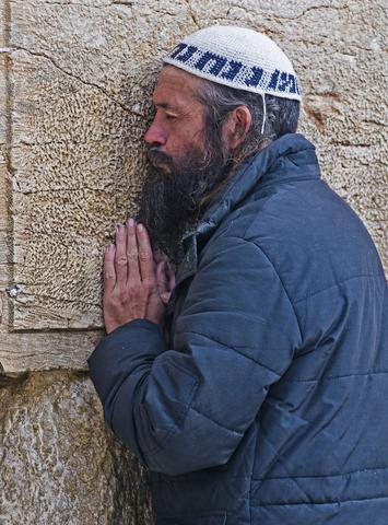 Jewish man-praying-Western Wailing Wall-Kotel