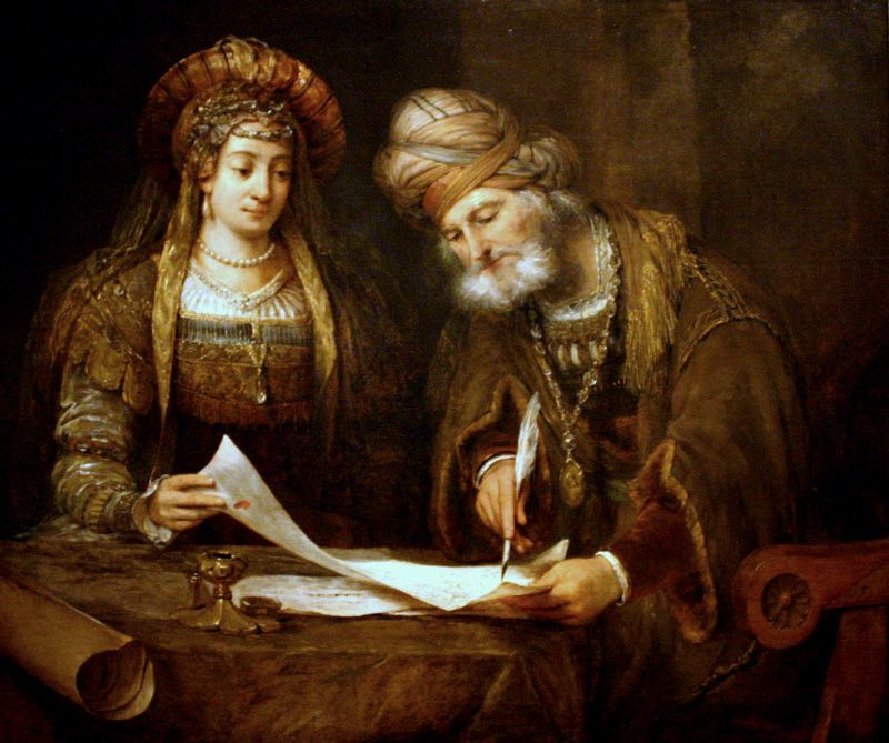 <strong>Mordecai writing the first Purim Letter</strong>, by Aert de Gelder