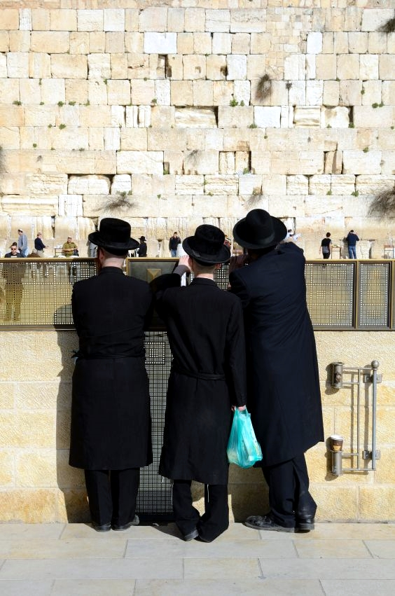 ultra Orthodox-Western-Wall-three-men-Chassidic