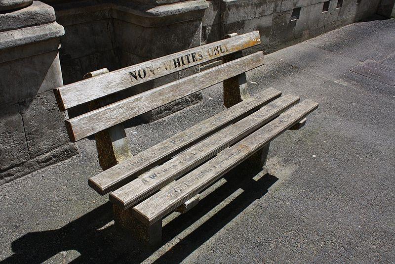 Non whites-bench-apartheid-Africa