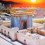 A painting portraying the Temple atop the Temple Mount
