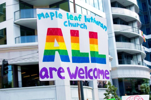 Seattle-Gay-Pride-Street-Parade-Lutheran-Church-Sign