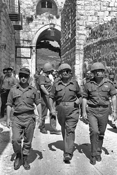 Chief of Staff Lt. Gen. Yitzhak Rabin in the entrance to the Old City of Jerusalem during the Six Day War, with Moshe Dayan and Uzi Narkiss. (Photo by Ilan Bruner)