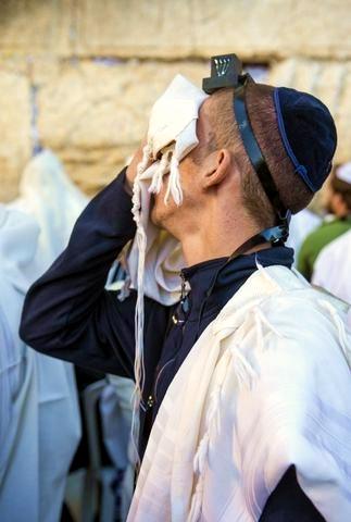 Selichot-Jewish man-Prays-Western Wall-Jerusalem