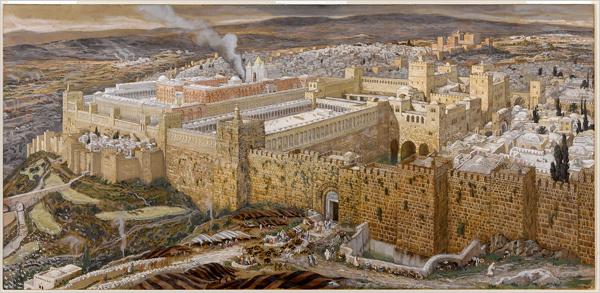 Reconstruction of Jerusalem-Temple of Herod-James Tissot