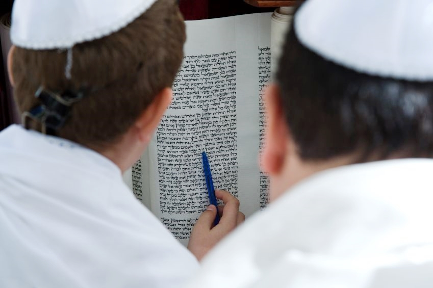 Reading-Torah scroll