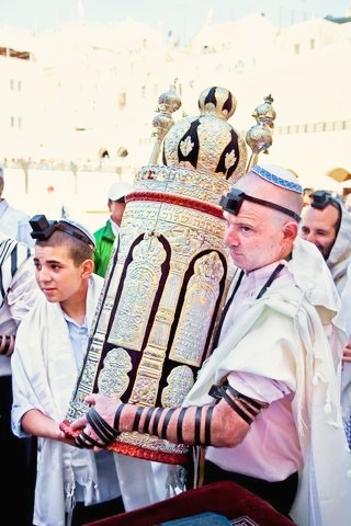 Ornate Torah scroll is carried at the Western Wall
