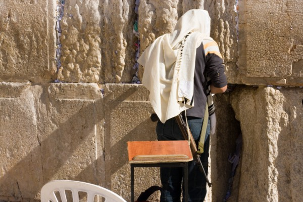 off duty soldier-Wailing Wall-tallit
