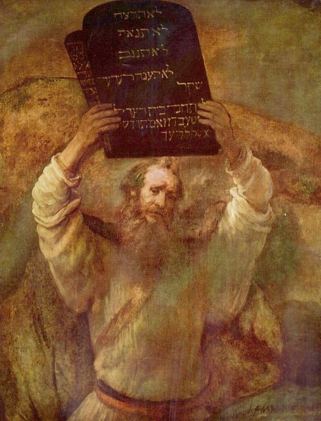 Moses with the Ten Commandments-Rembrandt