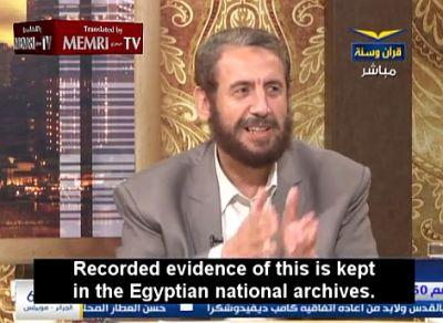 Khaled Al-Zaafrani uses Egyptian television to spread the anti-Semitic blood libel, which through the centuries has been responsible for the death of large numbers of innocent Jewish people