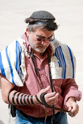 Jewish man-tefillin-morning prayer