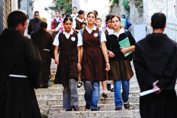 Arab-Israeli Schoolgirls-Muslim Quarter-OldCity of Jerusalem-FranciscanMonks