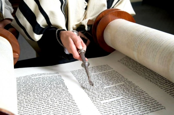 open Torah scroll-yad-tallit