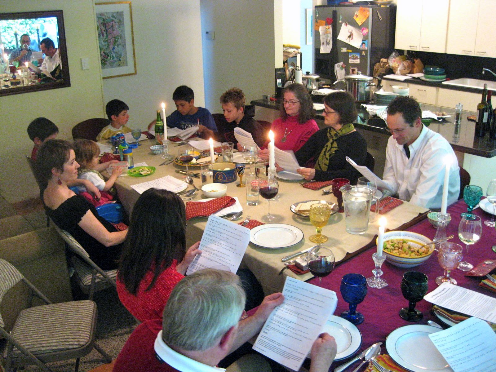 Family and friends gather on the first night of Passover for the Passover Seder.