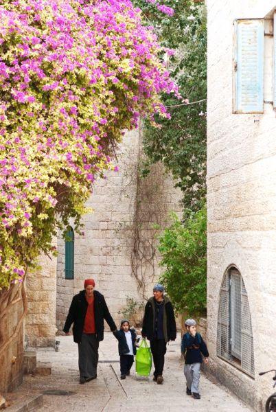 Israeli Orthodox Jewish mothers and children