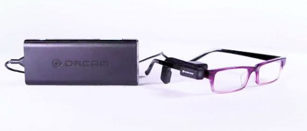 A pair of glasses fitted with the OrCam