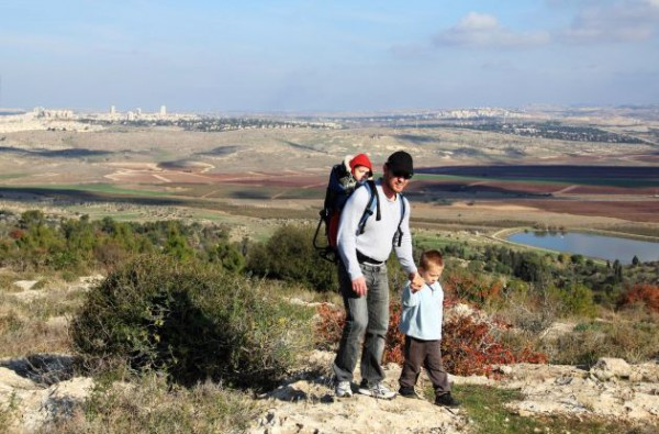 father-sons-hiking-Israel