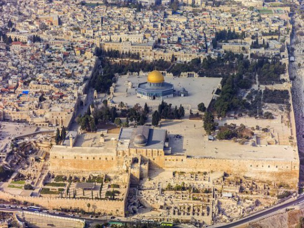 Temple Mount- aerial view-south exposure