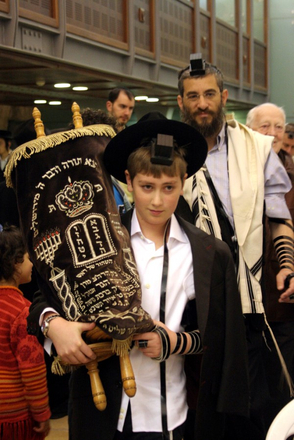 13 year old-Orthodox Jewish boy-Torah scroll