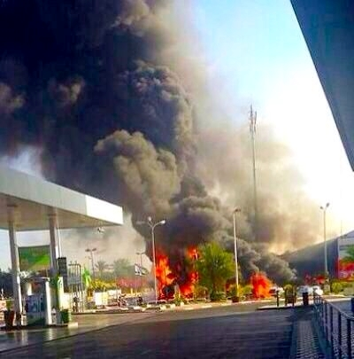 Gaza-Ashdod-Gas Station-Fire-Rockets