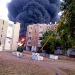 Sderot factory-burns-Hamas rocket strike