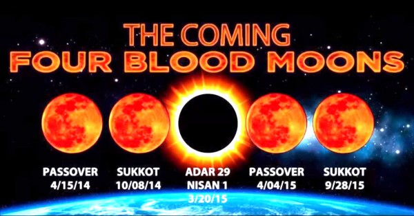 Blood Moon Tetrad coinciding with Passover and Sukkot in 2014 and 2015