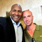 CUFI's Central Regional Coordinator, Pastor Lyndon Allen of Woodmont Bible Church in Nashville and an Israel Defense Forces soldier.