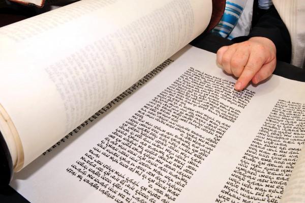 Reading the precious handwritten text of the Torah (Go Israel)