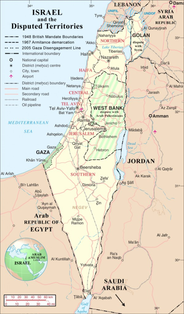 Israel and the Disputed Territories map
