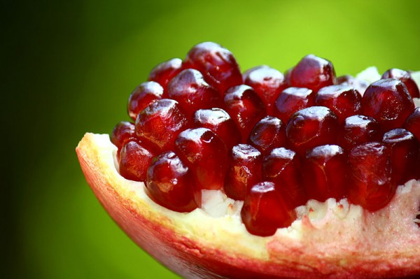 The seeds of the pomegranate.