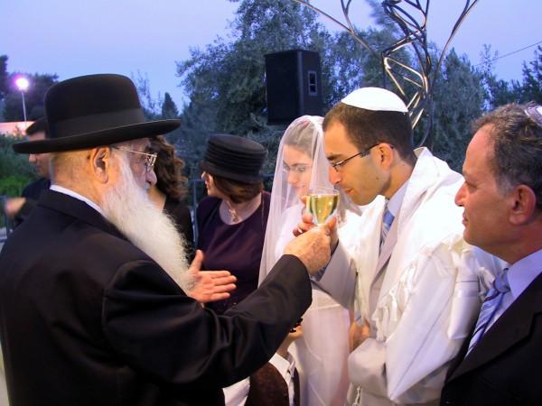 An Orthodox Jewish wedding in Israel.