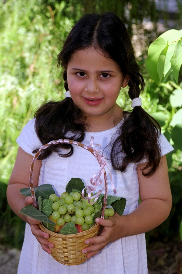 An Israeli girl with an offering basket. (GPO)