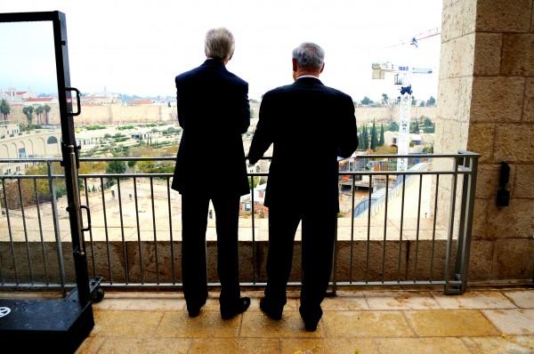 US Secretary of State John Kerry and Israeli Prime Minister Benjamin Netanyahu watch over Jerusalem.
