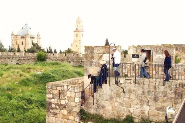 Jerusalem Tourists Ramparts Walk walls
