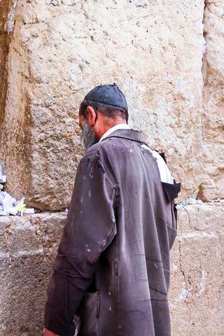 homeless man-Israel-prays-Western (Wailing) Wall-Jerusalem.