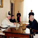 Pope Francis and former president Shimon Peres discuss the problem of terrorism.