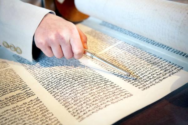 Torah scroll and a yad.