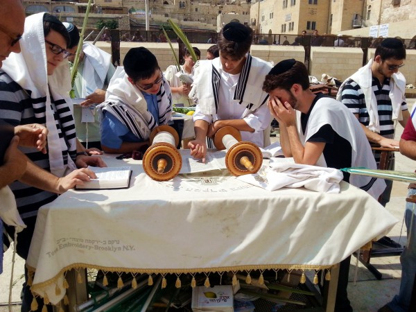 Reading from the Torah scroll on Sukkot