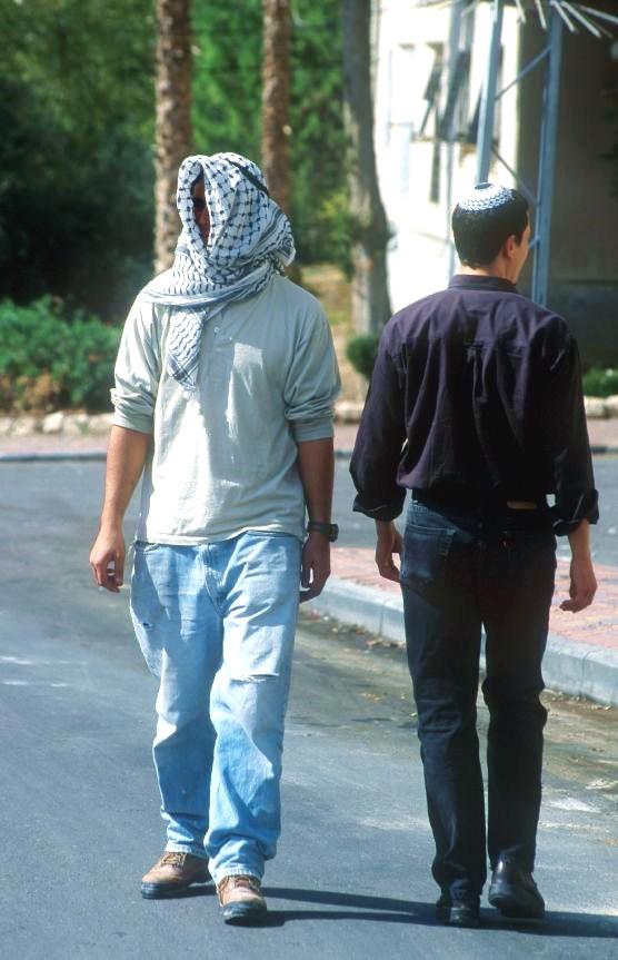 Jewish Arab man street Israel