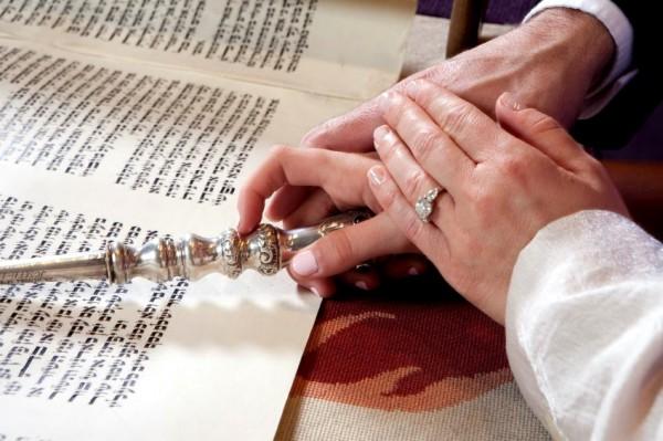 Torah scroll and yad (Torah pointer)