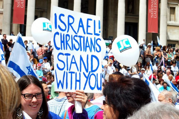 Christians stand with Israel at a rally in the United States.