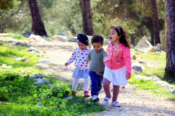 Israeli kindergarten children-holding hands-park